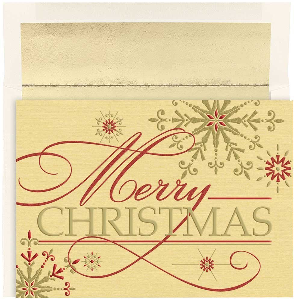 JAM Paper Christmas Card Set - Merry Christmas Flakes Holiday Cards - 16/pack