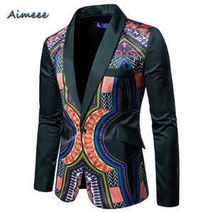 2019 African Dress For Men Dashiki Print And Suit Coat