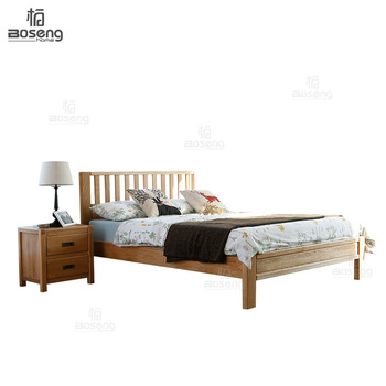 Boseng Modern Cottage Style Open Frame Headboard Design Queen Size Oak Wood Bed