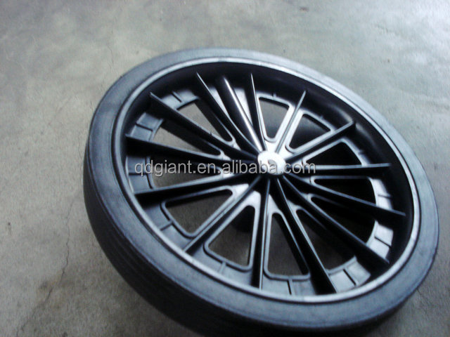 Trash bin solid rubber wheel with axle
