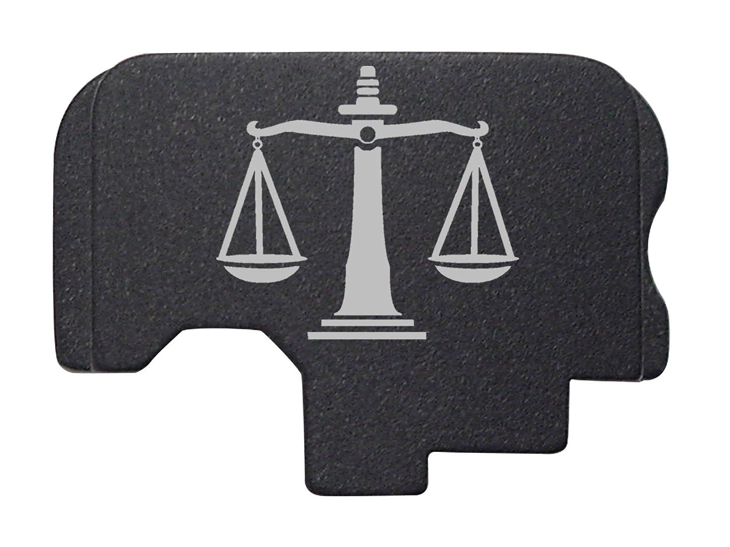 Justice Scales Engraved Black Rear Slide Cover Plate For Kahr Arms .45 ACP Models: CT45 CW45 CM45 TP45 P45 PM45