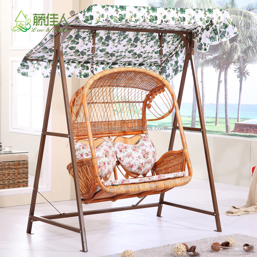 Outdoor Patio Garden Steel Rattan Double Two Love Seat Hanging Swing