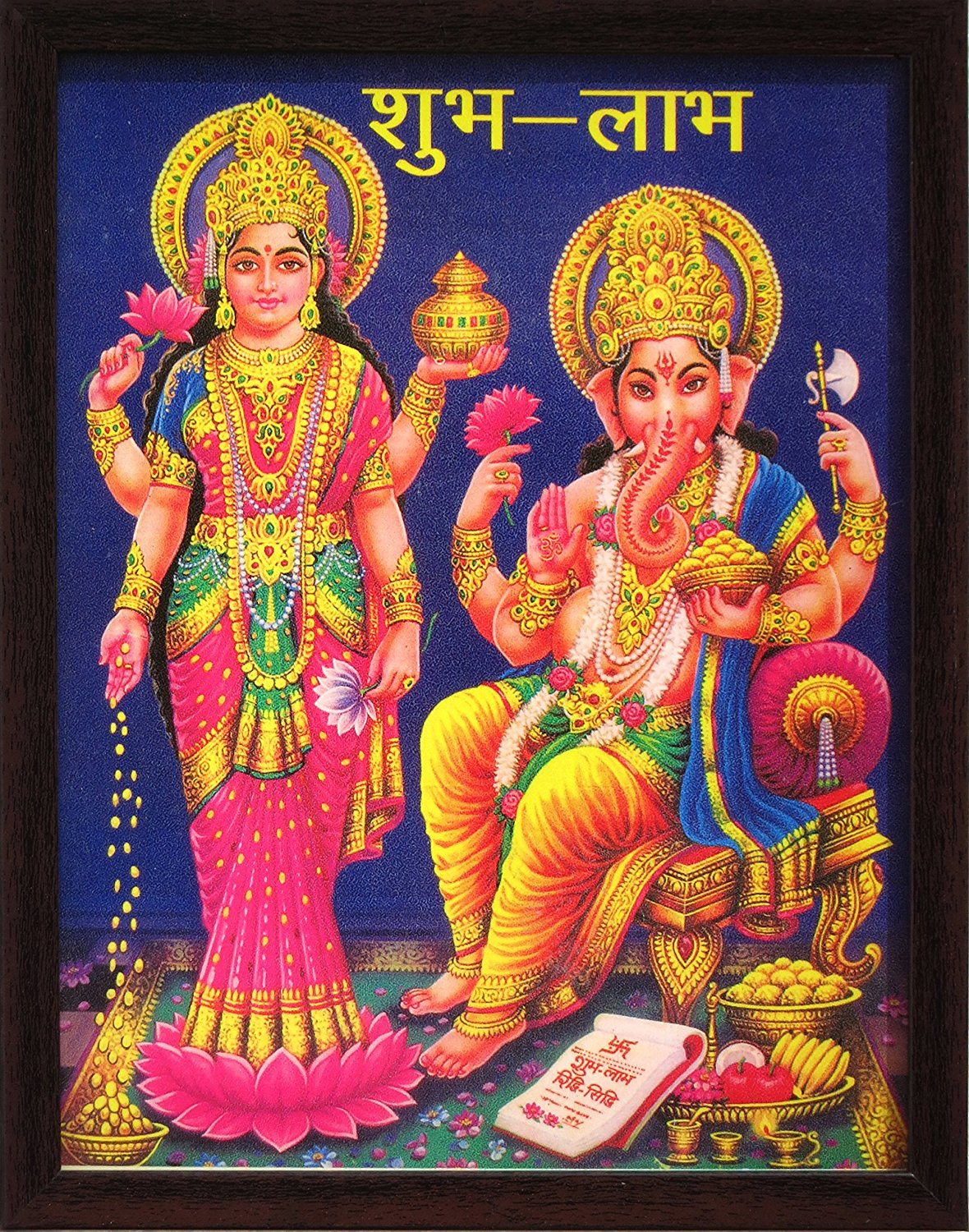 Goddess Maa Laxmi and Lord Ganesha giving blessings , poster painting in wood craft frame, must for ever home / office / religious and gift purpose