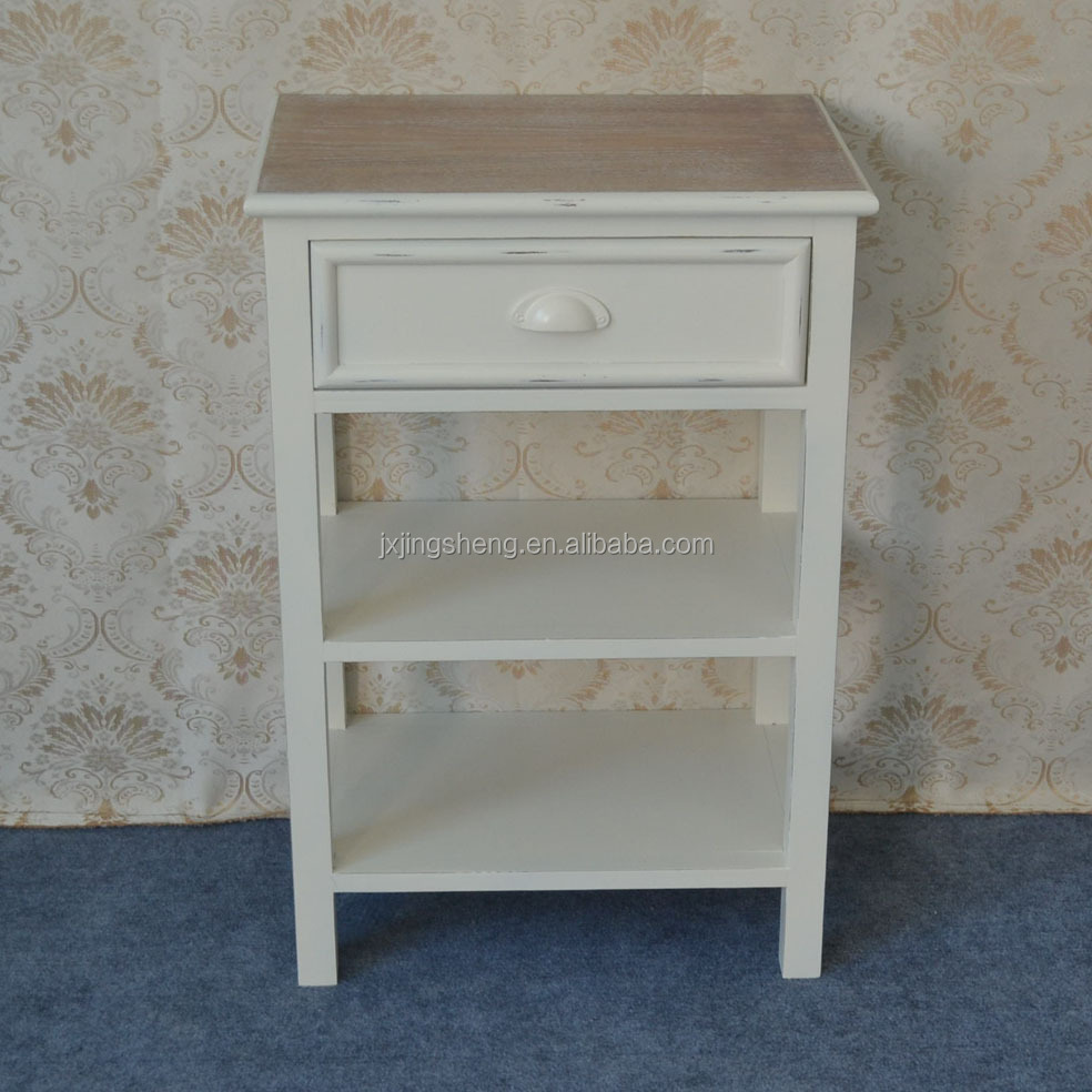 European style white wood side table with drawer home furniture