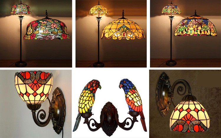 Antique Electric Table Lamp Stained Glass Tiffany Lamp Glass Shade ...
