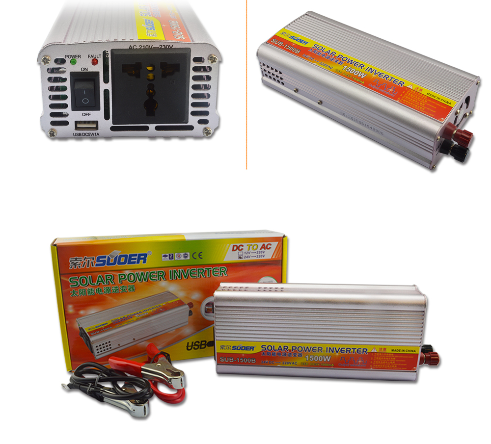 Suoer 24v 220v 1500w High Frequency Correction Wave Solar Inverter Without Battery Charger