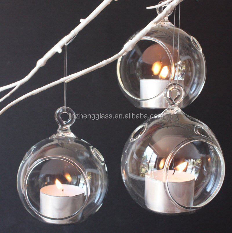Clear Gl Hanging Orb Round Ball Outdoor Tealight Succulents Holder Holders Globe