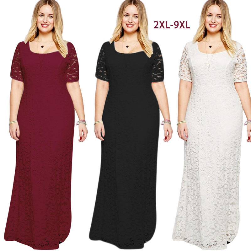 Hot sale online <strong>shopping</strong> from factory short sleeve lace <strong>dress</strong> plus size lace <strong>dress</strong> casual long maxi <strong>dress</strong>