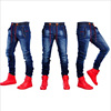 New fashion men's jeans tight jogging pant denim blue skinny quality jeans Hot sale tight biker jeans denim Drawstring