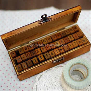 Vintage Wooden Gift Box Seal Lowercase Alphabet Letters Rubber Stamps Set