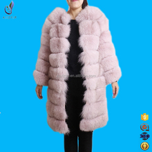 Fashion women transformer blue fox fur Dust pink warm winter coat