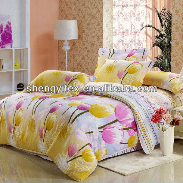 Tulip Polyester Bed cover Sets/100% Polyester bedding sets