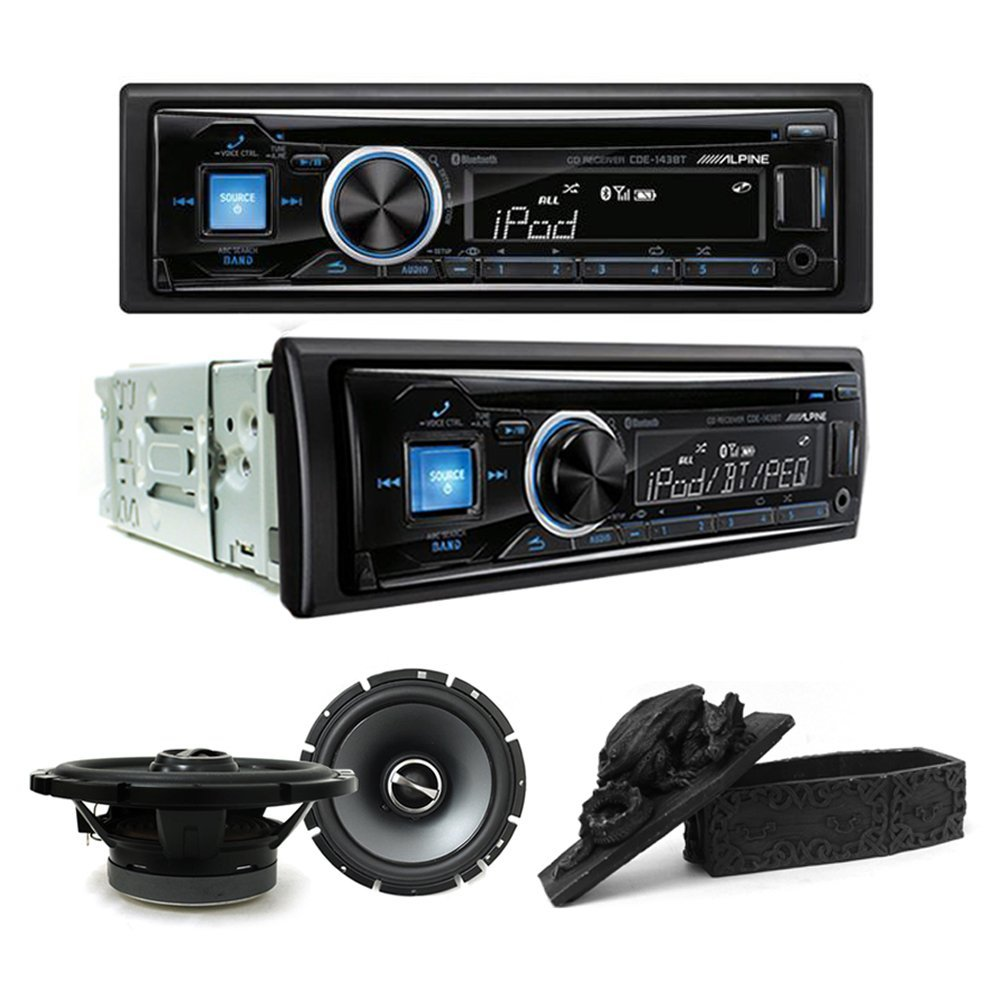 """Alpine CDE-143BT CD/USB receiver With Advanced Bluetooth and Alpine SPS-610 Type S 6-3/4"""" Coaxial 2-way Speaker Set and Free Gift"""