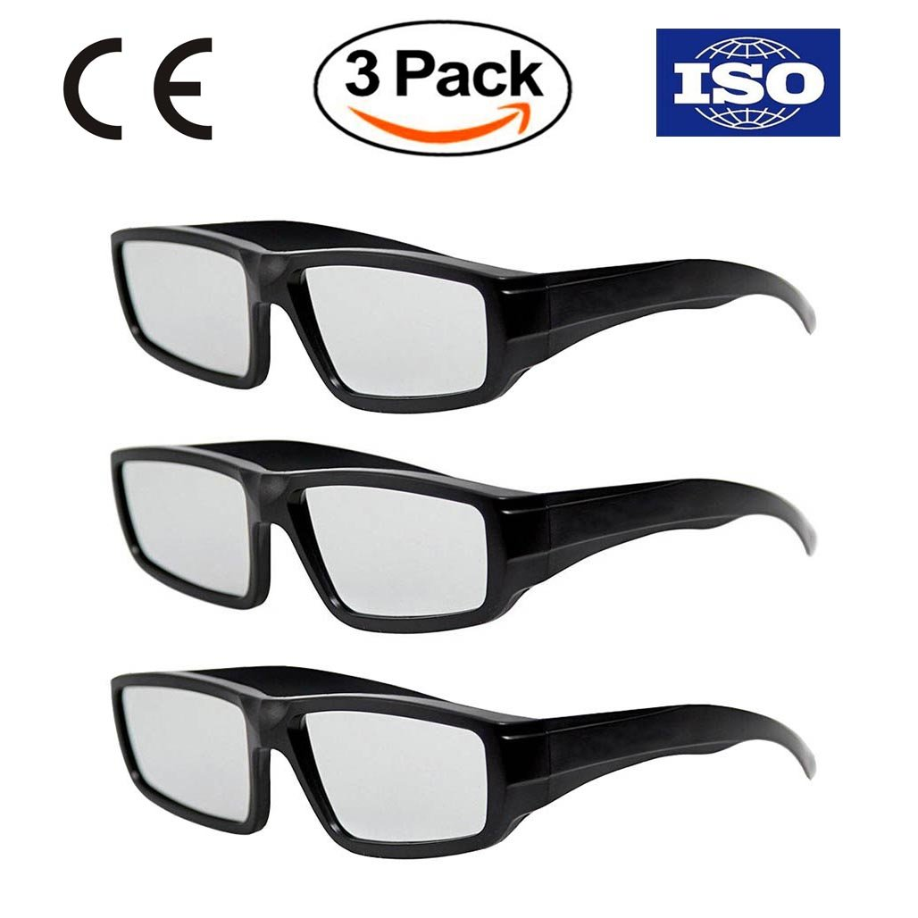 Professional Solar Eclipse Glasses - CE and ISO Certified Safe Sun Viewing - 3 Pack - Plastic Solar Eclipse Viewing Glasses for Adults & Teenagers - August 21, 2017