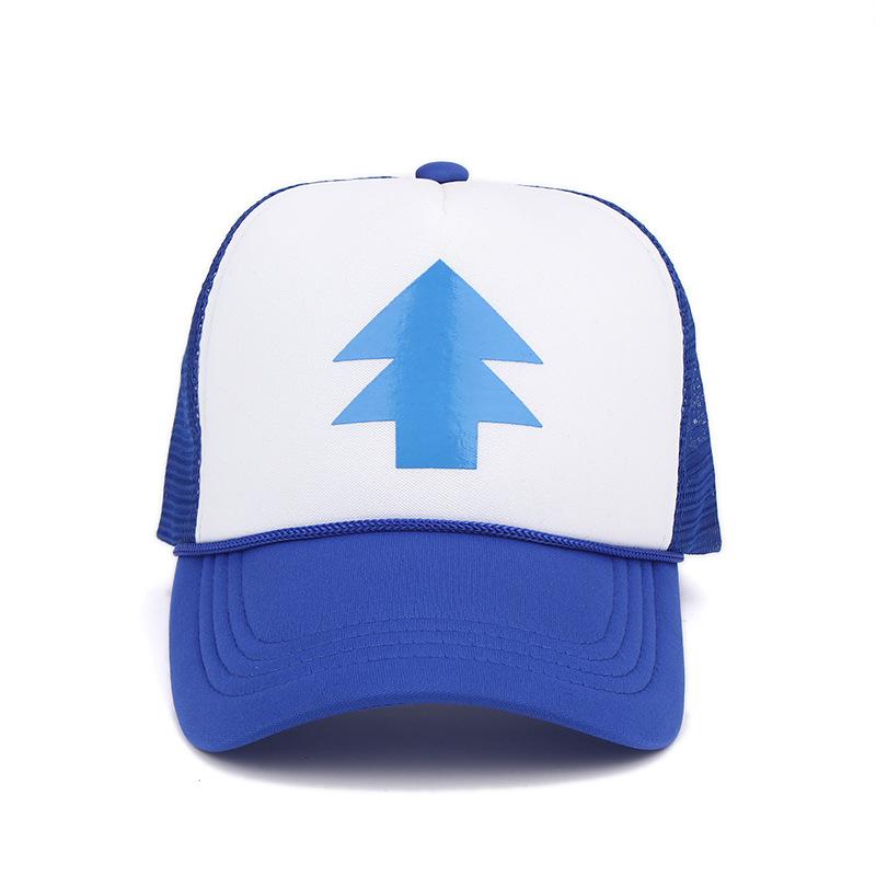 a7688c4b984ef 2017 Fashion Gravity Falls Baseball Cap Curved Bill Dipper children BLUE  PINE TREE Hat Cartoon mesh Trucker Snapback hat