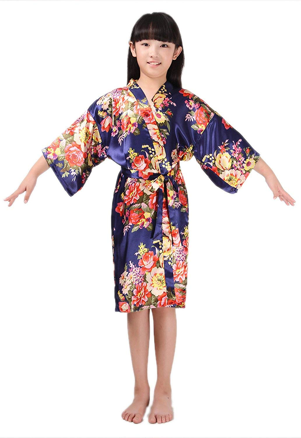 Get Quotations · DF-deals Girl s Satin Floral Kimono robe Flower Girl  Getting Ready Robe For Spa Party 0fbdb16cb
