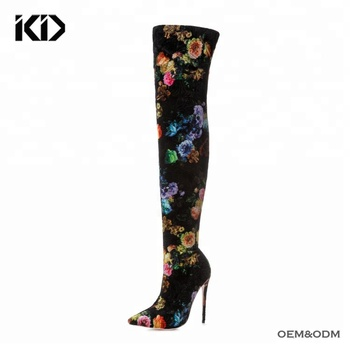 8c67c899b97 Bulk Wholesale Shoes Ladies Flora Velvet Thigh High Boots Fashion High Heel Womens  Boots