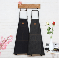 Custom fashion plain striped kitchen apron with pockets / Denim fabric apron