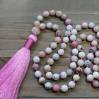 Spiritual ST0527 Pink Mala 108 Prayer Beads Yoga Meditation Jewelry Pink Opal Necklace Spiritual Tassel Necklaces Yoga Gift For Her