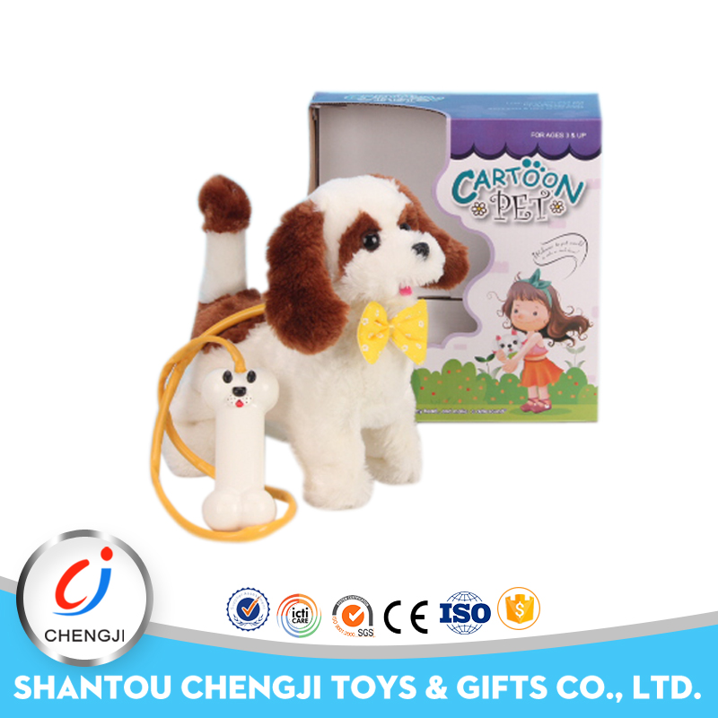 Funny plush pretend battery operated walking dog toy
