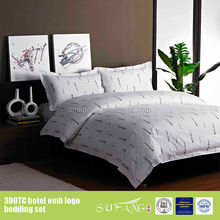 180tc 400tc custom printed bed sheets hotel brand logo flat sheet