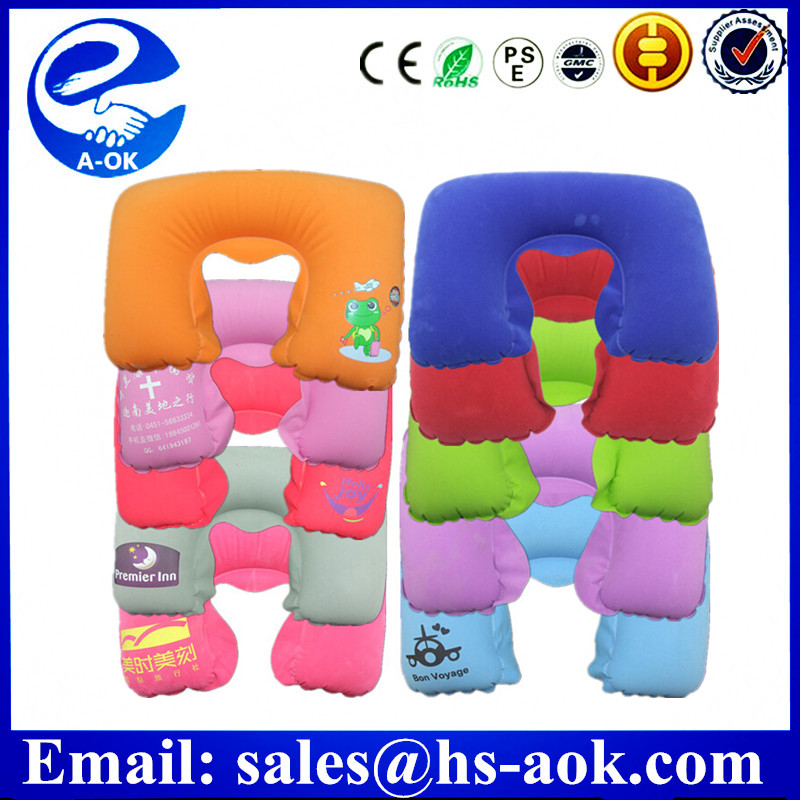 travel inflatable PVC flocking neck pillow with bag /custom logo print/U-shape