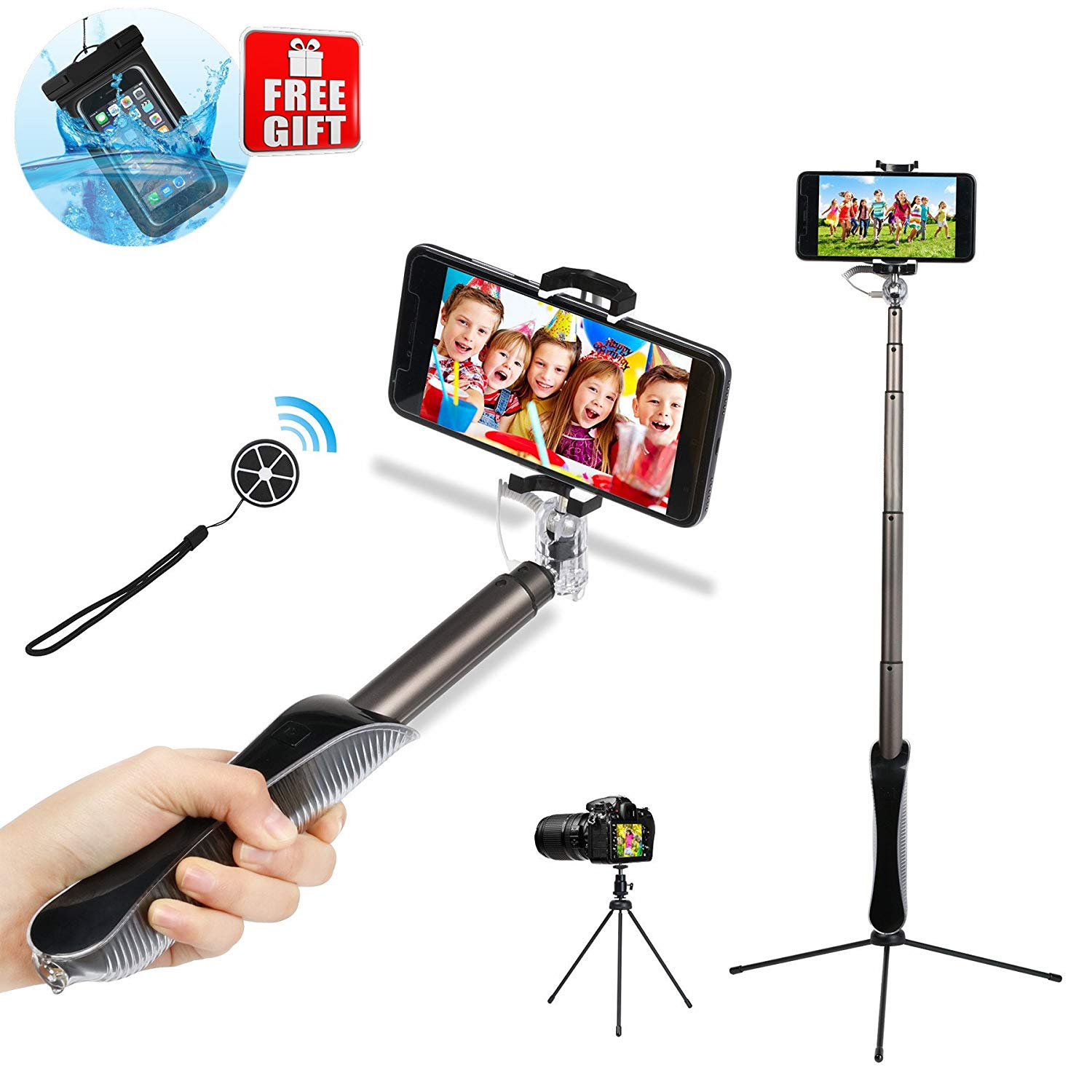 Wireless Bluetooth Selfie Stick Tripod Stand with Remote Control, Extendable Selfie Stick for iPhone 6 7 8 X Plus Samsung Android Phone, Rotational Phone Holder and Mirror (Free Waterproof Bag)