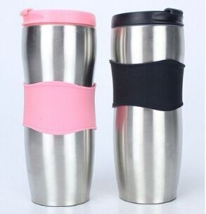 350ml Stainless steel rubber gripped travel mugs