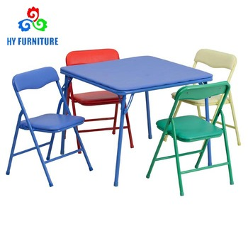 Kids Furniture Folding Metal Study Table Chair For Children Set And