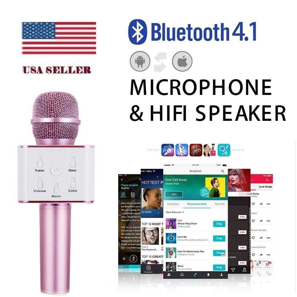 Coversuit Q7 Portable Wireless Karaoke Microphone,Mini Handheld Cellphone Karaoke Player Built-in Bluetooth Speaker,Karaoke MIC Machine for Home KTV (Pink)