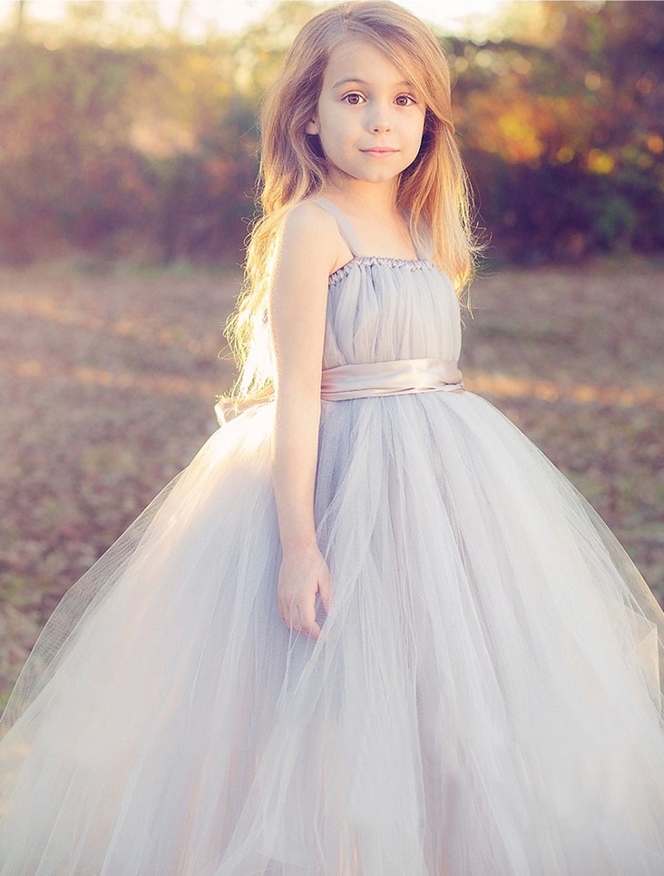 new 2016 tutu tulle gray baby bridesmaid flower girl wedding dress fluffy ball gown usa birthday. Black Bedroom Furniture Sets. Home Design Ideas