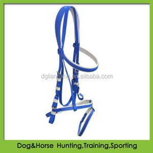 cob size waterproof PVC horse bridle with double nose band baby blue