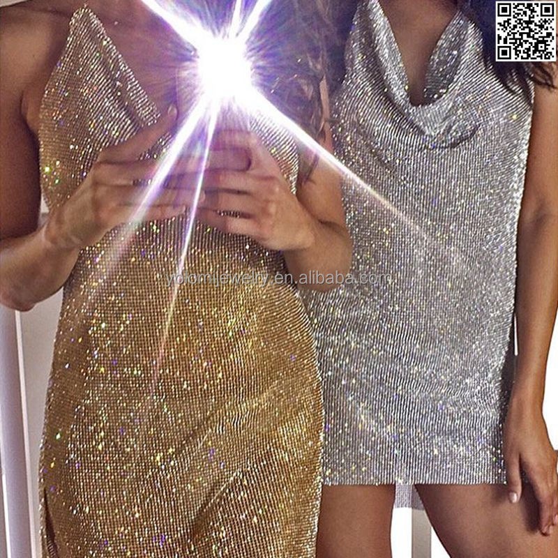 Party Club Rhinestone Dresses V-neck Bling Silver Body Chain Dress 0417A02