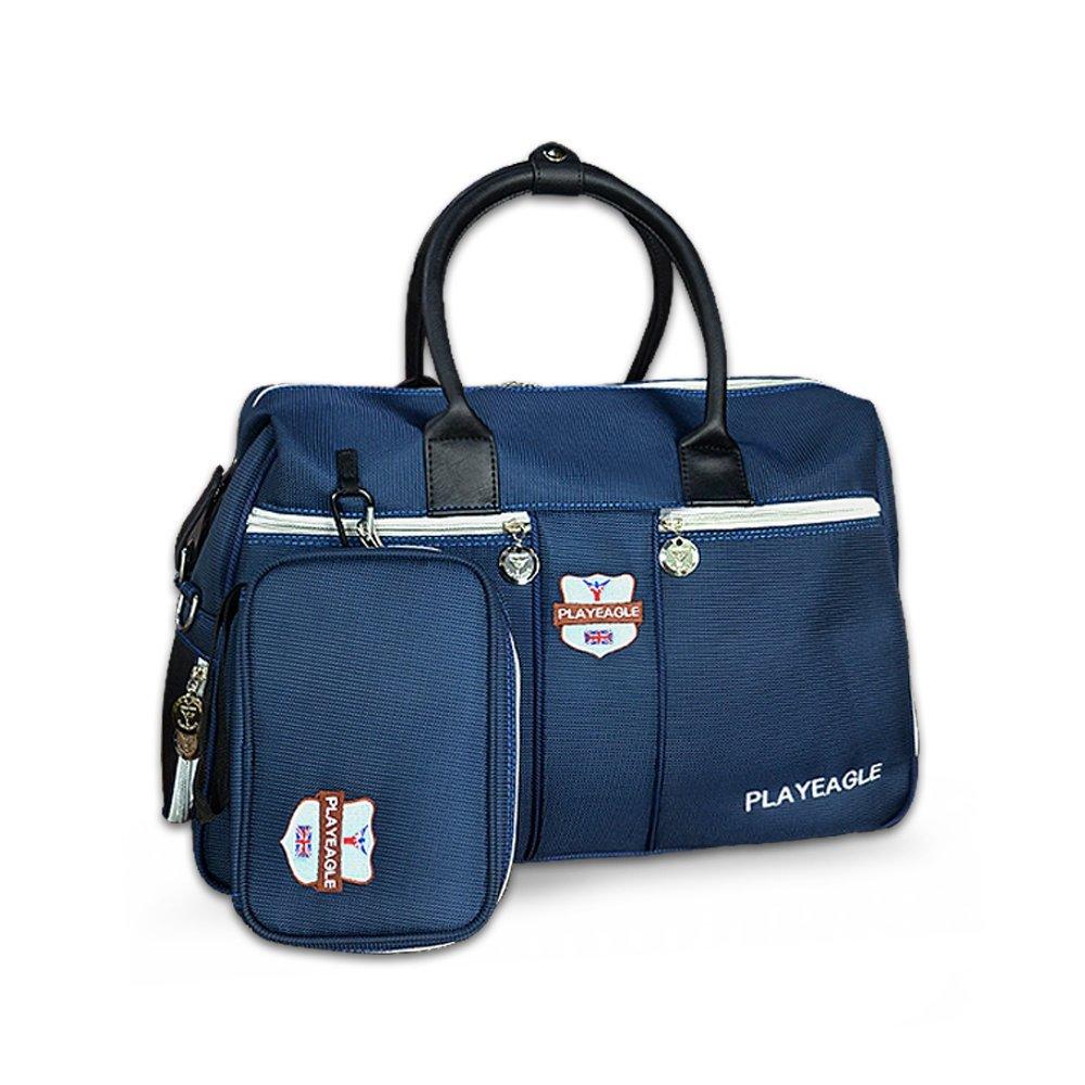 PLAYEAGLE Blue Nylon Waterproof Golf Boston Bag with Shose Pocket Travel Duffle Bag including Mini Handbag