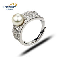 natural freshwater pearl ring vintage 925 Sterling Silver Ring cultured genuine Real Wedding pearl Ring