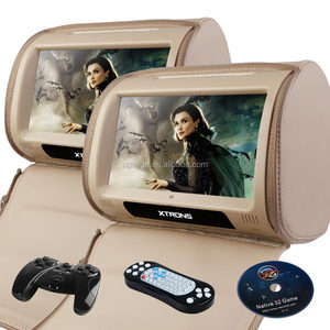 XTRONS 9 Inch touch screen dvd player Car Headrest Monitor support 32 bits games with headphones