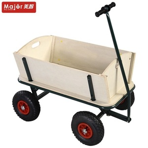 TC1812M beach wooden kids wagon tool cart with hood