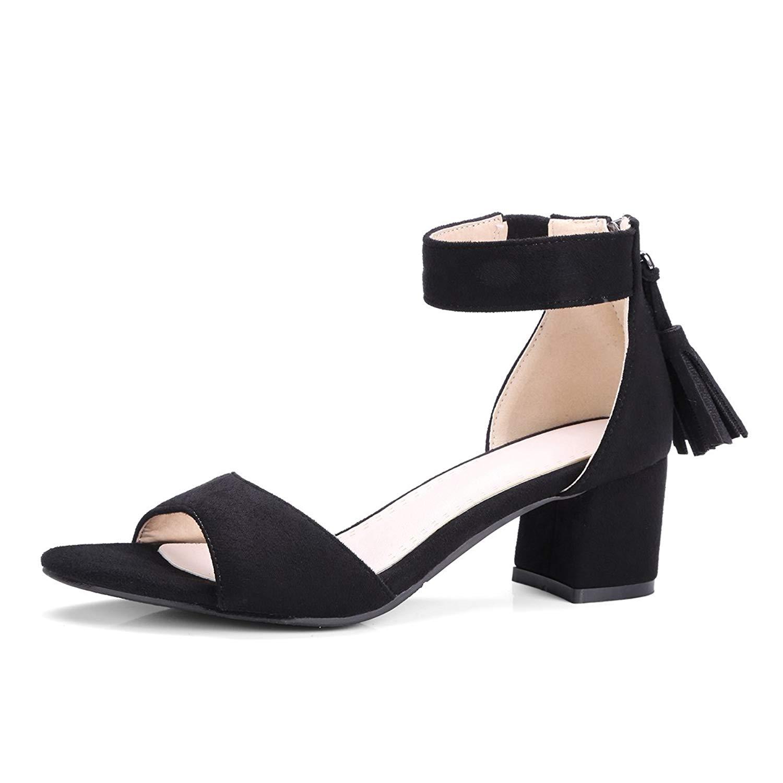 e321b923d3 Get Quotations · Yaheeda Elastic Ankle Strap Kitten Heel-Strappy Block Heel- Cute Low Sandal-Faux