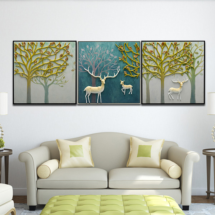 Home Decorattive Wall Art Painting, 3D Relief Reindeer Family's Happy Life in Misty Forest Wall Art <strong>Picture</strong>