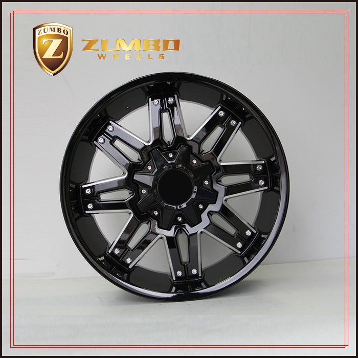 ZUMBO-A0081 Black Mill Spoke Car Custom Wheel Rims