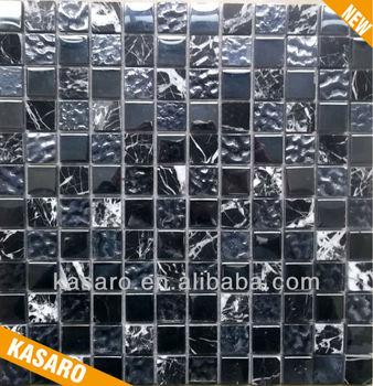 mosaic tile glass glitter tiles black glitter black and white marble