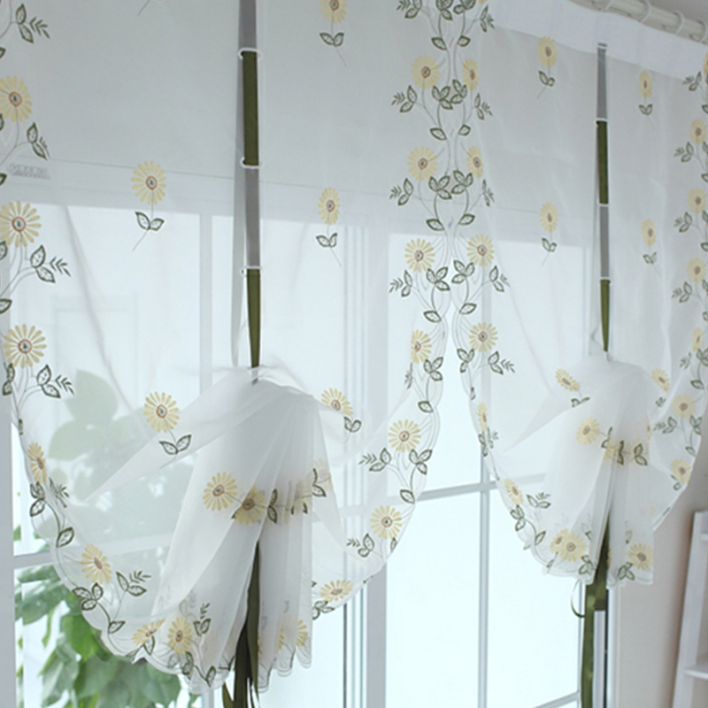 Hot Sale Floral Tulle For Windows In Sheer Curtains For
