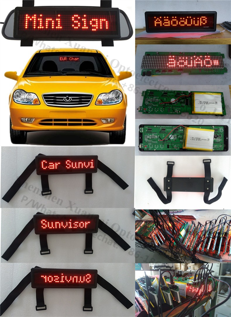 New! Rechargeable battery Nylon straps LED display for the sun visors