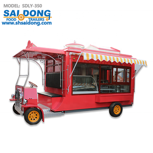 New Style retro type Hamburger cart Street mobile BBQ vending truck 4 Wheels for fast food