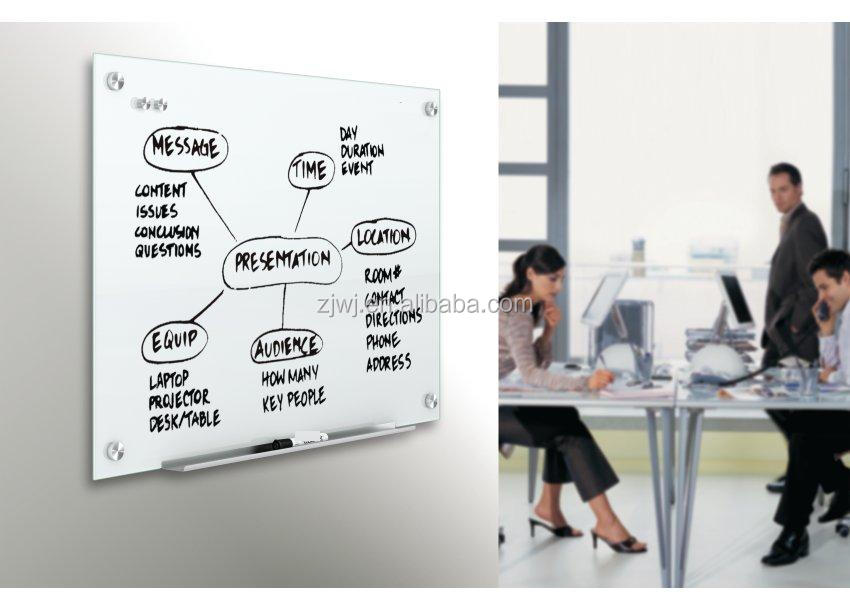 Clear glass magnetic dry wipe writing board