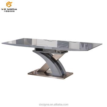 Moderna De Madera Mdf Vidrio Extensible Mesa De Comedor Diseños Base ...