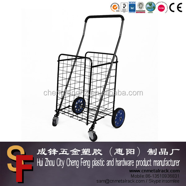 Popular Portable Metal Folding Shopping Trolley With Rubber Wheels