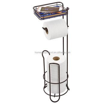 Freistehenden Toilettenpapierhalter Für Badezimmer Mit Regal Bronze