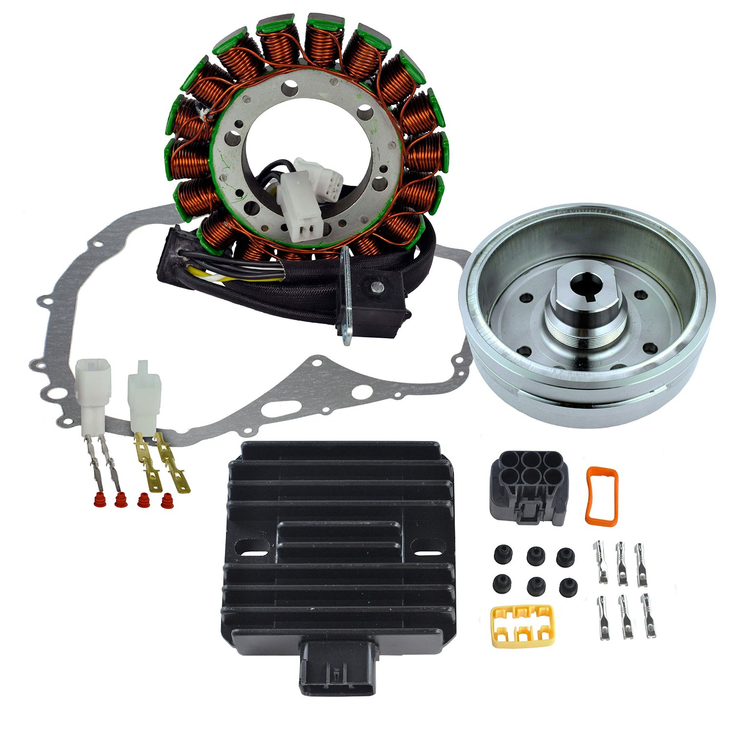 Kit Stator + Improved Magneto Flywheel + Regulator Rectifier + Crankcase Cover Gasket For Suzuki LTF 400 Eiger 2002 2003 2004 2005 2006 2007