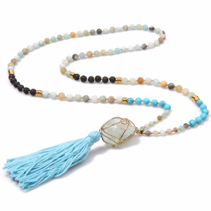 Semi-precious Wire Wrap Amazonite Natural Stone Mala Chakra Lava Stone Druzy Pendant Tassel Beads Necklace